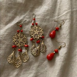 Jewelry - Bundle of red and gold earrings